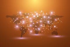 Mapa del mundo con concepto global del establecimiento de una red de la tecnología Visualización de los datos de Digitaces Alinea ilustración del vector