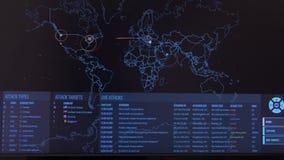 Mapa del mundo con diversas blancos para el ataque cibernético Concepto el cortar y de la tecnología almacen de metraje de vídeo