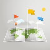 Mapa del mundo con diversas marcas Ilustración Foto de archivo libre de regalías