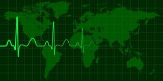 Mapa del mundo con el concepto cardiio del vector del pulso de cambio, de crisis y de desastres globales, noticias ilustración del vector