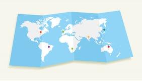 Mapa del mundo con el fichero de los pasadores EPS10 de la ubicación de GPS. Foto de archivo libre de regalías
