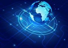 Mapa del mundo con el fondo de la tecnología Imagenes de archivo
