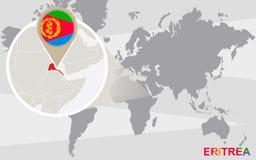 Mapa del mundo con Eritrea magnificado