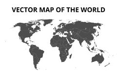 Mapa del mundo con las fronteras Ilustración del vector Fotografía de archivo libre de regalías