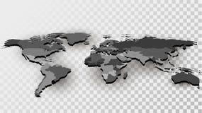 Mapa del mundo con las fronteras nacionales Imagen de archivo
