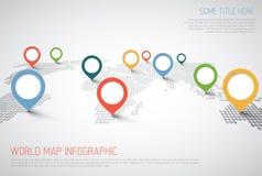 Mapa del mundo con las marcas del indicador stock de ilustración