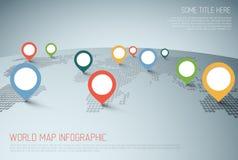 Mapa del mundo con las marcas del indicador ilustración del vector