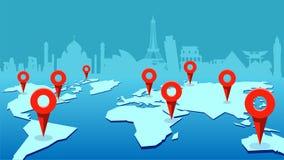 Mapa del mundo con las marcas y los edificios de punta de la señal en el fondo concepto del recorrido stock de ilustración
