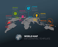Mapa del mundo con las marcas y los iconos del indicador Fotografía de archivo
