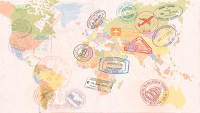 Mapa del mundo con las visas, sellos, sellos concepto del recorrido ilustración del vector
