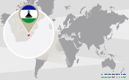 Mapa del mundo con Lesotho magnificado