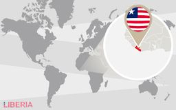 Mapa del mundo con Liberia magnificado