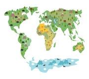 Mapa del mundo con los animales y los árboles Mapa geográfico del globo w Fotografía de archivo libre de regalías