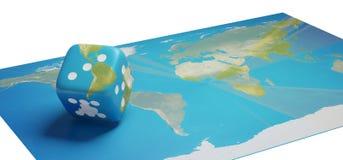 Mapa del mundo con los dados América 3d-illustration del cubo Stock de ilustración
