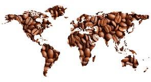 Mapa del mundo con los granos de café foto de archivo