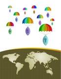 Mapa del mundo con los iconos Foto de archivo libre de regalías