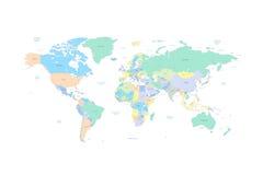 Mapa del mundo con los países y las ciudades enumerados adentro Fotos de archivo libres de regalías