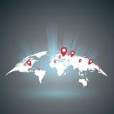 Mapa del mundo con los puntos Imágenes de archivo libres de regalías