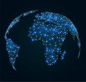 Mapa del mundo con los puntos brillantes, conexiones de red Imagen de archivo