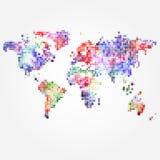 Mapa del mundo con los puntos coloreados de diversos tamaños Fotos de archivo