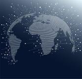 Mapa del mundo con los puntos y las líneas Conexiones de red global a través del globo stock de ilustración