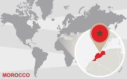 Mapa del mundo con Marruecos magnificado