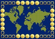 Mapa del mundo con moneda de 20 botones Imágenes de archivo libres de regalías