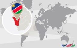 Mapa del mundo con Namibia magnificada