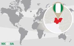 Mapa del mundo con Nigeria magnificado