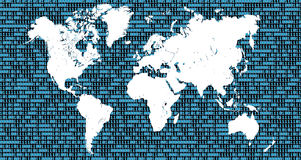 Mapa del mundo con números binarios como fondo Fotos de archivo libres de regalías