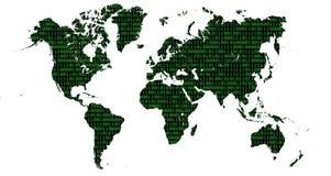 Mapa del mundo con números binarios con el fondo blanco Imagen de archivo