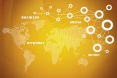 Mapa del mundo con palabras del negocio en rojo Imagen de archivo