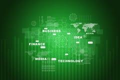Mapa del mundo con palabras del negocio en verde stock de ilustración