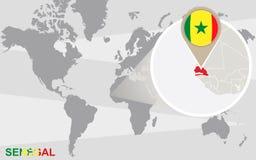 Mapa del mundo con Senegal magnificado
