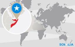 Mapa del mundo con Somalia magnificada