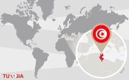 Mapa del mundo con Túnez magnificado