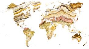 Mapa del mundo cortado en mármol elaborado imagenes de archivo