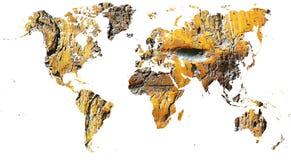 Mapa del mundo cortado en madera antigua del grunge imagenes de archivo