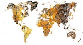 Mapa del mundo cortado en madera antigua del grunge fotos de archivo libres de regalías