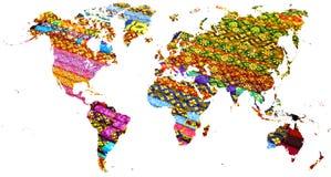 Mapa del mundo cortado en telas coloreadas multi tailandesas imágenes de archivo libres de regalías