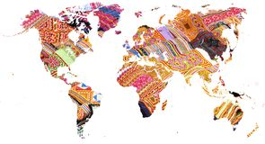 Mapa del mundo cortado en telas coloreadas multi vietnamitas fotografía de archivo