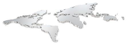 Mapa del mundo de acero Imagen de archivo libre de regalías