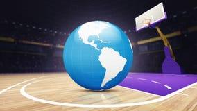 Mapa del mundo de América en la cancha de básquet en la arena Imagenes de archivo