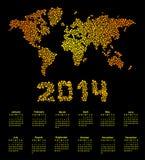 mapa del mundo de 2014 calendarios libre illustration