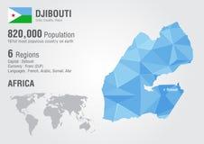 Mapa del mundo de Djibouti con una textura del diamante del pixel Foto de archivo libre de regalías