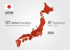 Mapa del mundo de Japón con una textura del diamante del pixel Fotografía de archivo