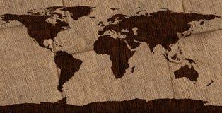 Mapa del mundo de la arpillera Imagenes de archivo
