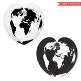 Mapa del mundo de la forma del corazón Fotografía de archivo