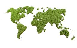Mapa del mundo de la hierba verde en el fondo blanco libre illustration