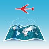 Mapa del mundo de las trayectorias de vuelo del aeroplano Imagen de archivo libre de regalías